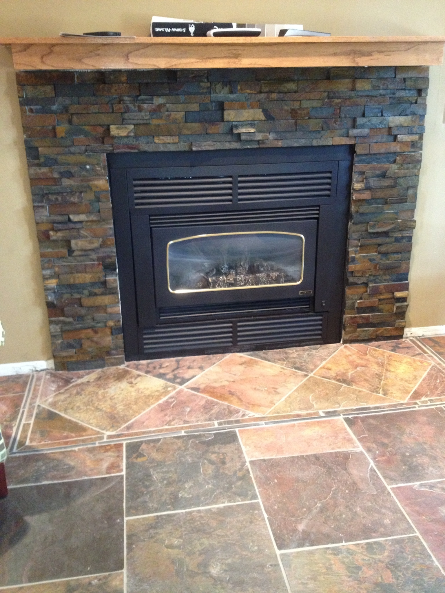 Stone Tile Around Fireplace Tile Design Ideas